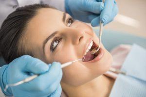 Woman having a dental examination.